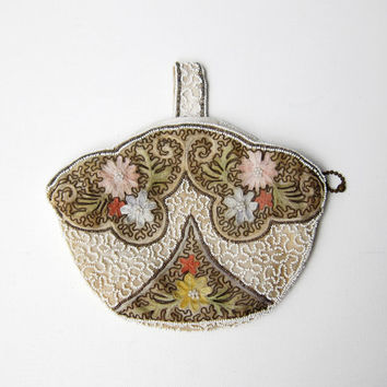 Vintage 1940s Belgian Glass Bead and Embroidered Flower Purse