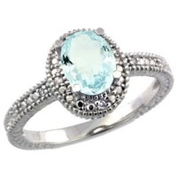 Sterling Silver Diamond Vintage Style Oval Aquamarine Stone Ring Rhodium Finish, size 7