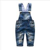Baby Pants Boys Girls 2016 New Arrival Trouser Jeans Denim Jumpsuit Overoles Kids Autumn Winter Hole Jeans Jumpsuits Clothes