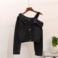 2018 Sexy Women Denim Denim Jacket Coat Off One Shoulder Vintage Black White Jean Jackets Outwear