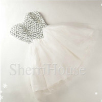 White Beads Sweetheart Strapless Short Gown Short Bridesmaid Celebrity Cocktail Dress ,Mini Tulle Evening Party Prom New Homecoming Dress