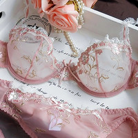 Luxury sexy see through bra set women embroidery lace plus size soutien gorge push up transparent bras set lingerie victoria