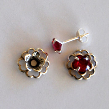 Ruby Red Silver Post Earring Set– Includes Ruby Red Cubic Zirconia Posts and Sterling Silver Flower Style Earring Jacket