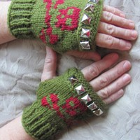Army green, red skull crossbones fingerless gloves studs made to order
