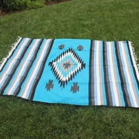 Del Mex Mexican Tribal Diamond Center Blanket Aztec Blue Turquoise