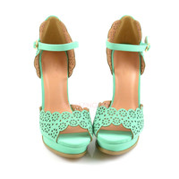 Origami Mint Scalloped Heels