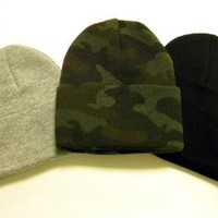 Great Deals! 3 Knit Beanies/ Black, Gray, & Camo