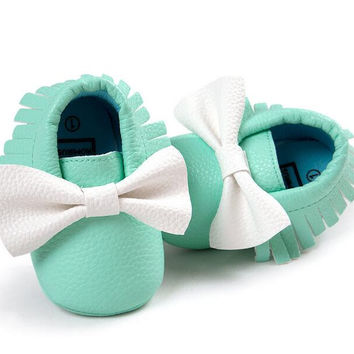Mix Color Spring Autumn Bow Baby Shoes PU Leather Infant Boys Girls Shoes First Walkers Baby Moccasins 0-18 Months