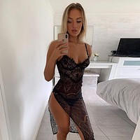 Fashionable women's sexy pajamas see-through lace one-piece dress