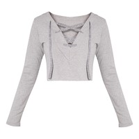 Theah Grey Lace Up Crop Sweater - Tops - PrettylittleThing | PrettyLittleThing.com