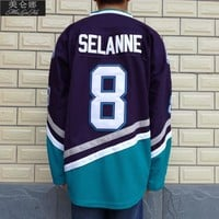 Mighty Ducks Movie Jerseys #8 Teemu Selanne Jersey 0801 Purple White Throwback Ice Hockey