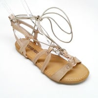 Beige Vegan Leather Sandal with Straps