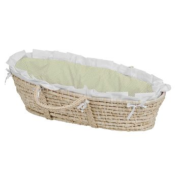 Baby Moses Basket with Liner, Sheet, and Pad Natural/Sage/White