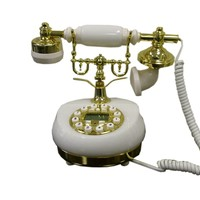ORE International Classic Style Cradle Ceramic Telephone with Display White