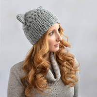 Gray Cat Hat, Knit Cat Ear Hat or Cat Beanie, Womens Cat Hat