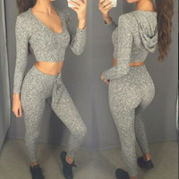 Deep V-neck Long Sleeves Hoodie Skinny Pants Activewear Set