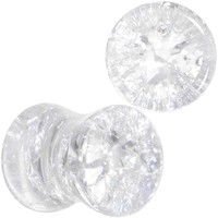 2 Gauge Clear Shattered Glass Saddle Plug Set