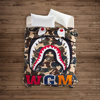 Hot Super Soft WGM Shark Blanket A Bathing Ape / Bape Camouflage Flannel Blanket Travel / Office Lunch Break Blanket 150x200cm