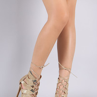 Liliana Glitter Laser-Cut Caged Lace Up Stiletto Heel