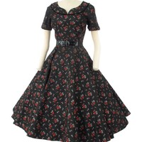 50s Rose Print Black Taffeta Tea Length Party Dress