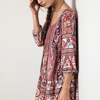 Peasant Paisley Dress - Red