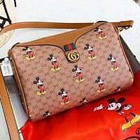 GUCCI & Disney Fashion New More Letter Mouse Print Leather Shoulder Bag Crossbody Bag