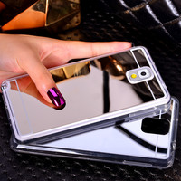 Luxury Bling Mirror Case Soft Protective Back Cover For Samsung Galaxy S5 i9600 S4 i9500 Note 3 N9000 Note 4 N9100 Note 5 N9200