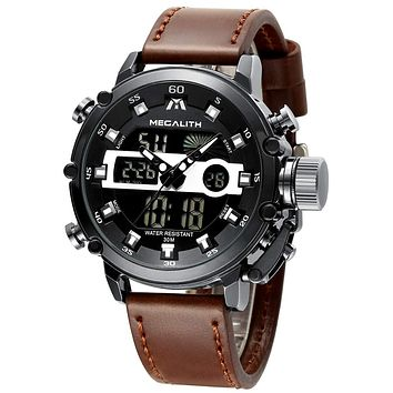 MEGALITH Mens Sports Watches Military Digital Gents Watch Chronograph Waterproof Wrist Watches for Man Boys Kids with Led Backlight Analog Quartz Multifunction Cool Watches Alarm Stopwatch Calendar 1-Black