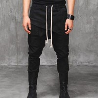 Dark Drop Crotch Zip Off Tapered Trouser