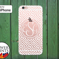 Greek Pattern White Tile Cursive Letters Meander Cute Clear Rubber Phone Case for iPhone 5/5s and 5c and iPhone 6 and 6 Plus + and iPhone 6s