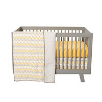 Baby Cribs  - Buttercup Zigzag 3 Piece Crib Set