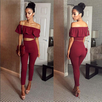 Summer  Ruffle  Strapless Crop Top and Pants  Set