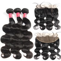 Devotion Hair Peruvian Body Wave 3 Bundles with Frontal 100% Human Hair Bundles with 13*4 Ear to Ear Lace Closure No-Remy Hair
