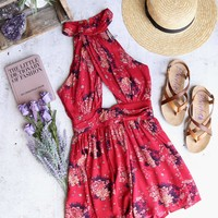 hamptons floral romper - red