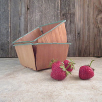 Vintage Berry Baskets Wood and Metal Rims Set of Two