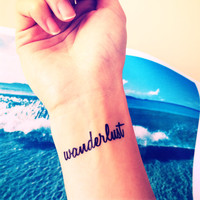 "2pcs ""wanderlust"" travel collection tattoo - InknArt Temporary Tattoo - wrist quote tattoo body sticker fake tattoo wedding tattoo small"