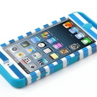 ULAK Hybrid Hard Pattern with Silicon Case Cover for Apple iPod Touch 5 Generation (Red Anchor Blue Strip/Blue)
