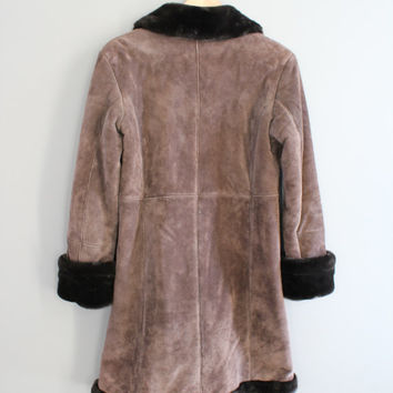 Brown Suede Leather Princess Coat Gorgeous Faux Fur Boho Hippie Winter Coat Vintage 90s Size XS - S