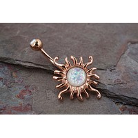 Celestial Sun Rose Gold Belly Button Ring