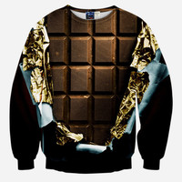Chocolate Bar All Over Print Junk Food Brown & Black Crew Neck Sweatshirt