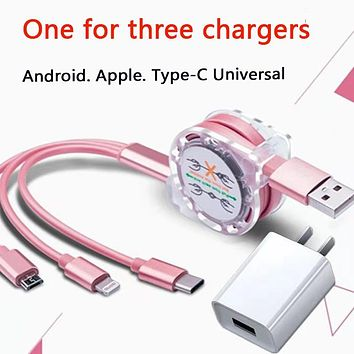 Hot selling three-in-one multi-function fast charging cable