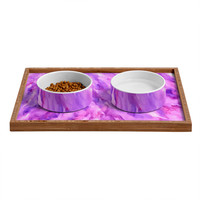 Rosie Brown Magenta Marble Pet Bowl and Tray