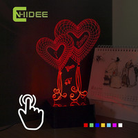 Computer Laptop USB Heart Night Light Romantic Bedroom Decor Seven Colors Home Lighting Touch Dimming Table Lamp for Wedding