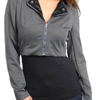 Ns Womens Crop Top Military Collared Jacket Gray Black