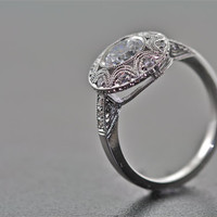 New Vintage 14kt White Gold and Diamond Hand Engraved Engagement Ring, Wedding Ring with 1ct White Sapphire center