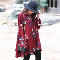 Lune & Stars Tunic Dress in Burgundy