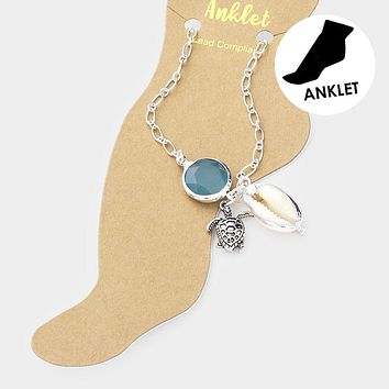 Round Resin Bead Metal Turtle Shell Charm Anklet