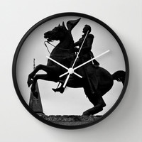 Jackson Square Wall Clock travel Fine Art Photography Andrew statue Home Decor New Orleans Retro French Quarter Historical Silhouette Horse