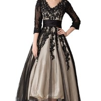 Sunvary Champagne and Black Long Sleeves Mother of Bride Dresses Prom Gowns - US Size 12- Black and Champagne