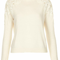 Knitted Lace Shuolder Jumper